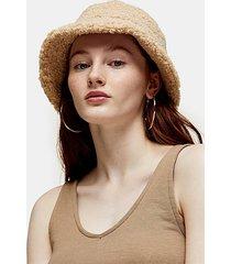 cream borg bucket hat - cream