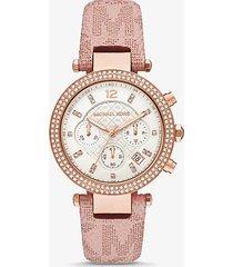 mk orologio parker oversize tonalità oro rosa con logo e pavé - rosa (rosa) - michael kors