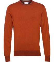 cotton silk c-neck sweater stickad tröja m. rund krage orange calvin klein
