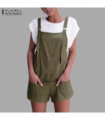 zanzea mujeres más holgados sin mangas sólidas monos pantalones mameluco mini hot shorts -ejercito verde