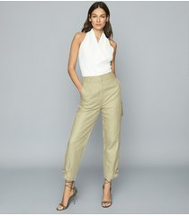 reiss eden - cotton-blend utility trousers in light green, womens, size 10