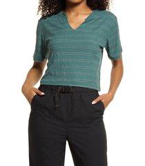 bp. split neck ribbed t-shirt, size medium in green trekking bella stripe at nordstrom