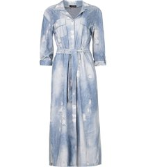 travelwear midi-jurk met print amber  blauw