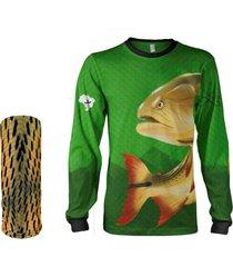 camisa máscara pesca quisty dourado o rei do rio verde proteção uv dryfit infantil/adulto - camiseta de pesca quisty