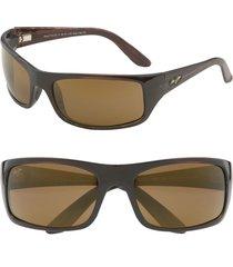 men's maui jim 'peahi - polarizedplus2' 67mm sunglasses - tortoise / hcl bronze lens