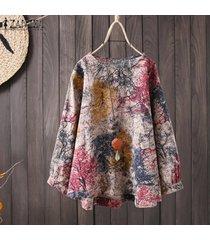zanzea más el tamaño de las mujeres de cuello redondo y estampado floral largo tapas de la camisa informal de gran tamaño de la blusa -rojo