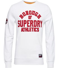 academy ribbed crew sweat-shirt trui wit superdry