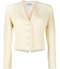 chanel pre-owned 2000s croisiere frayed woven jacket - neutrals