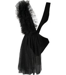 alchemy sheer panel asymmetric bodysuit - black
