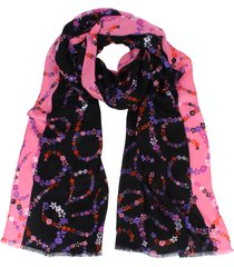 women's kate spade new york floral script oblong scarf, size one size - black