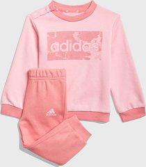 conjunto adidas performance i lin ft jog rosa - calce regular
