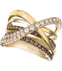 le vian chocolatier gladiator diamond crisscross ring (1-1/3 ct. t.w.) in 14k gold