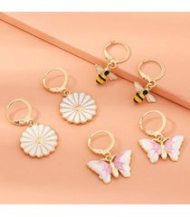 3 pairs butterfly daisy bee glazed drop earrings