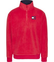 buzo polar fleece badge mock neck rojo tommy jeans