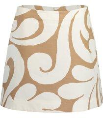 caramel and white printed mini skirt