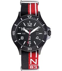 nautica n83 men's napcbs901 cocoa beach solar black/red fabric slip-thru strap watch