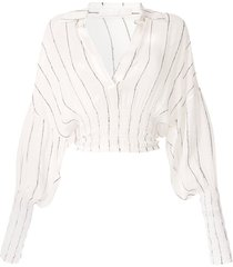 dion lee shirred stripe ggt blouse - white