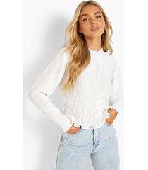plisse blouse met hoge hals, white