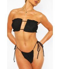 gathered peekaboo bandeau bikini, black