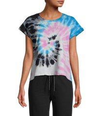 lea & viola women's spiral tie-dye t-shirt - grey - size s