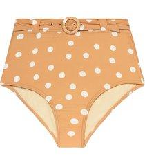 peony polka-dot high-rise bikini bottoms - neutrals