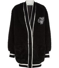 off-white varsity cardigan - black