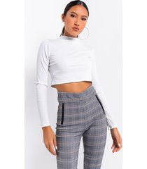 akira chill day long sleeve mock neck crop top