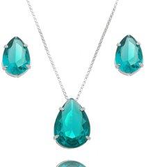 conjunto lua mia joias gota verde azulado translúcido banho ródio