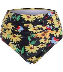 floral ruched high waisted bikini bottom