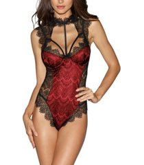 dreamgirl women's teddy with contrast lace overlay