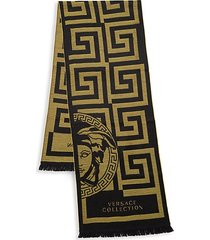 logo print wool-blend scarf