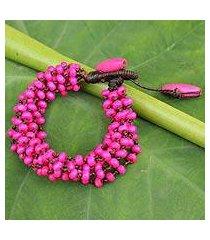 wood beaded bracelet, 'opulent pink' (thailand)