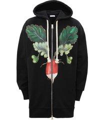 jw anderson veggie oversize cotton hoodie, size small - black