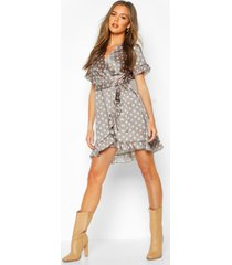 polka dot ruffle belted tea dress, sage
