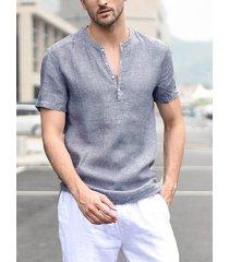 hombres a rayas de cuello de lino camisa