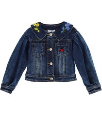 monnalisa embroidered jeans jacket denim extra stretch