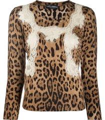 dolce & gabbana lace-embellished virgin-wool pullover - neutrals