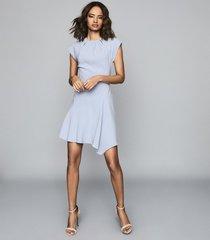 reiss belle - capped sleeve dress in pale blue, womens, size 4