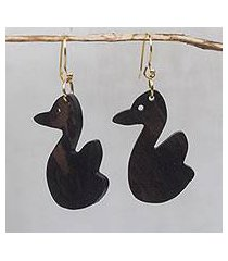ebony wood dangle earrings, 'duck duo' (ghana)