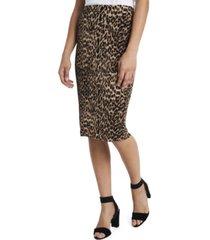 vince camuto women's leopard spots midi tube skirt