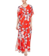 sl fashions smocked floral kaftan maxi dress