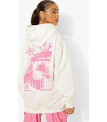 oversized hoodie met rugopdruk, ecru