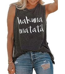 camiseta casual sin mangas con estampado de letras cuello