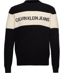 colour block stripe gebreide trui met ronde kraag zwart calvin klein jeans