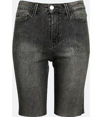 långa shorts i denim med hög midja - svart
