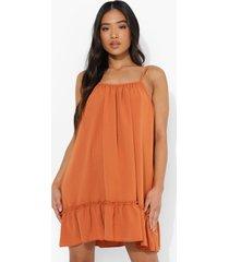 petite linnen look swing jurk met bandjes, orange