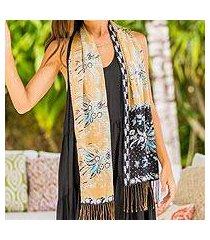 batik silk scarf, 'golden paradise' (indonesia)