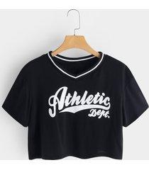camisetas de manga corta con cuello en v y letras negras