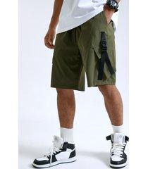 cinta de bolsillo grande liso para hombre diseño casual carga shorts