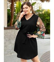 talla grande negro cinturón diseño bordado patchwork escote en v vestido